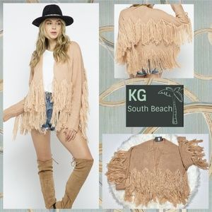 KG South Beach Collection Chunky Fringed Sweater Cardigan In A Zig Zag Pattern